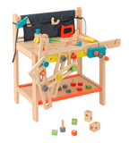 Table workshop wooden toy for children with craftsman tools