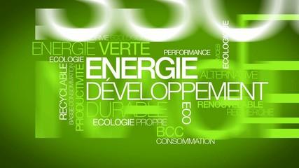 Energie verte développement durable nuage de mots animation