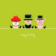 "Fly Agaric, Chimney Sweep & Pig ""Happy Birthday"""