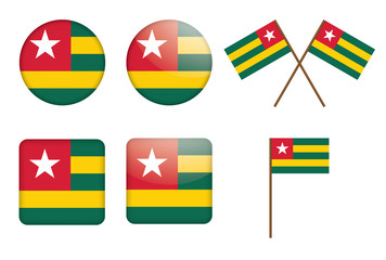set of badges with flag of Togo vector illustration