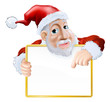 Happy cartoon Santa holding sign
