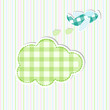 vector illustration of airplane with cloud in baby arrival card