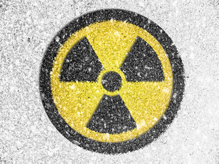 Nuclear radiation symbol painted on
