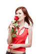 girl holding red rose