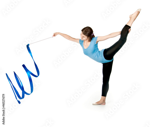 girl gymnast with a ribbon