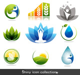 Beautiful nature and health icon collection