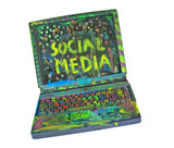 The wonderful world of Social media, grungy painted laptop