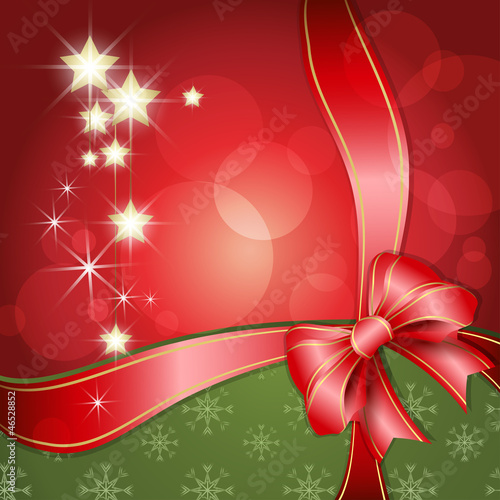 Merry Christmas background with ribbon and stars