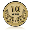 Label 10 anniversary, vector illustration