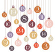Advent Calendar Christmas Balls Retro Colors White