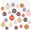 Advent Calendar Christmas Balls Retro Colors White