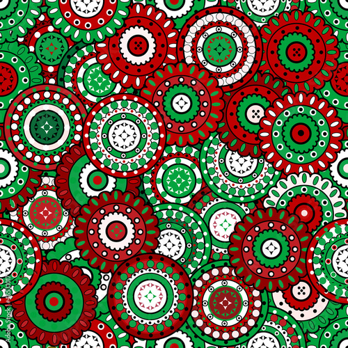 Floral background in Christmas colors