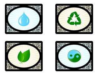 Vector illustration of a set of environment icons isolated on wh