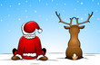 Santa Claus and a reindeer sitting in the snow
