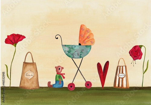 Artwork. Baby arrival card