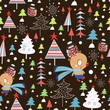 Christmas seamless pattern of bears and trees