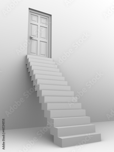 3d Stairway to closed doorway
