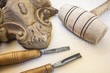 wood carving with work tools