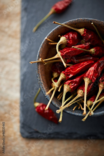 Dried chili peppers in a ceramic bowl