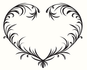 Flourishing heart, elegant design element.