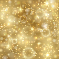 Golden background with stars and twinkly lights