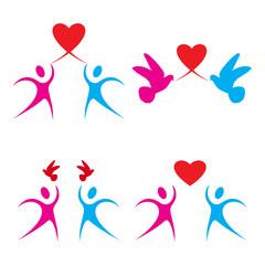 Set of love heart symbols