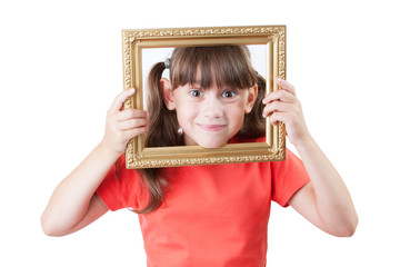 Little girl looking out of picture frames