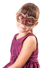 Cute little girl in a carnival mask