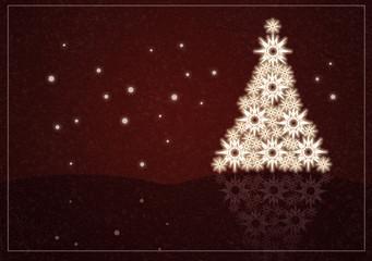 Weihnachtskarte, rot, winterlich