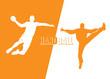 Handball players - vector illustration