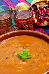 bowl with harira, the traditional Berber soup of Morocco