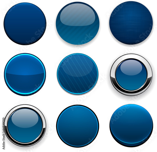 Dark-blue round high-detailed modern web buttons.