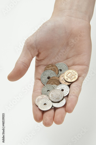 Hand holding danish currency