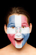 girl with Dominican Republic flag on her face