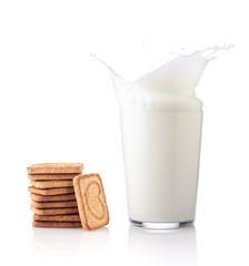 Splash of milk with various grain biscuits