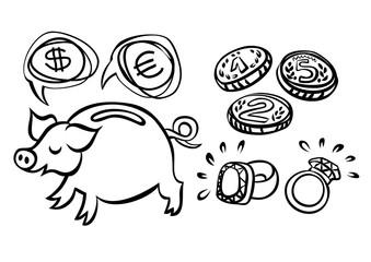 świnka skarbonka monety biżuteria ilustracja finansowa