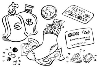 pieniądze karty kamienie szlachetne ilustracja finansowa