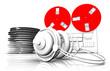 Retro tape recorder and headphones