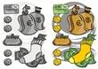 monety banknoty karta portfel ilustracja finansowa