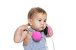 cute baby child in headset isolated over white