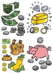 ilustracja biznes finanse pieniądze bogactwo oszczędzanie