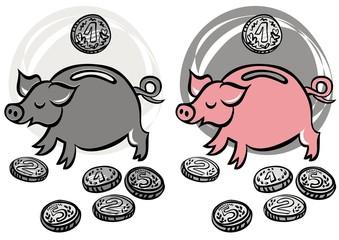 świnka skarbonka kolorowa i szara ilustracja finansowa