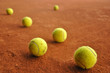 tennis balls on the court
