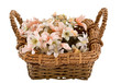 Decorative basket with fake flowers in it