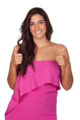 Beautiful girl with pink dressed saying Ok
