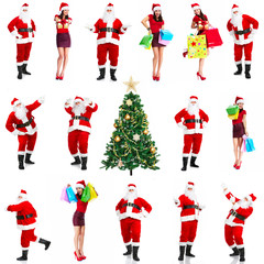 Christmas santa and woman with shopping bags.