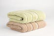 stack of two towels on white background