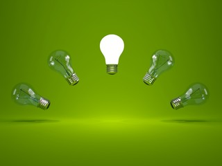 Light bulbs on green background
