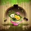 Carved wood background and flowerpot with roses