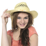 Head shot of pretty woman wearing hat –close up